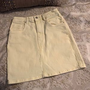 NWOT Zara Authentic Denim Yellow Mini Skirt Size S